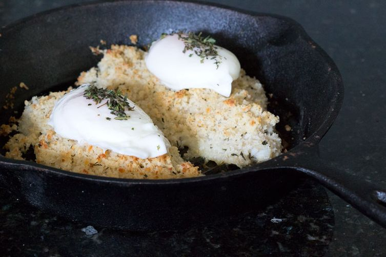 Flounder with Baked Panko Crust and Poached Eggs