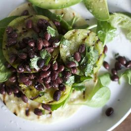 Grilled Green Tomato Tostadas with Black Beans and Avocado