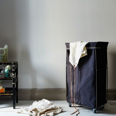 Grey Narrow Elevated Laundry Basket