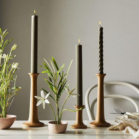 Simple Wood Candleholders (Set of 2)