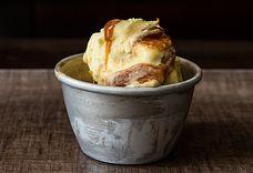 Olive Oil-Saffron Ice Cream with Burnt Orange-Caramel Swirl