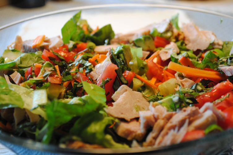 Summer Salad with Turkey, Greens, and Chickpeas