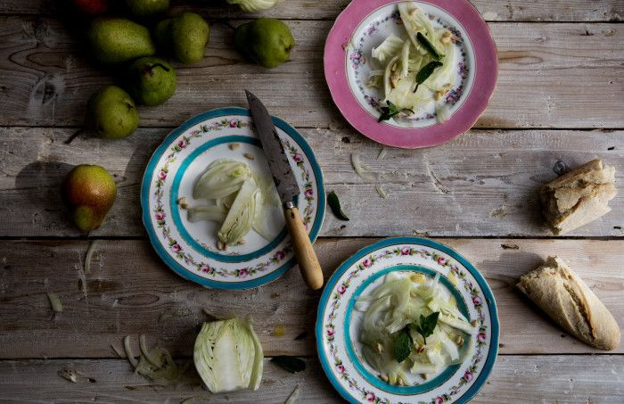 Fennel salad with pine nuts and fresh mint.