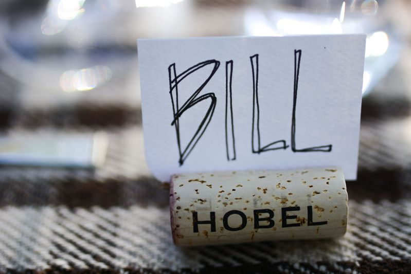 wine corks to prop up place cards