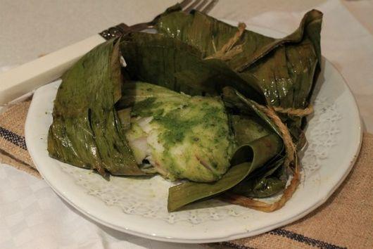 Green Chutney fish in Banana leaves