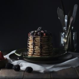Whole Wheat Yogurt Pancake w/ Berries & Chocolate Sauce