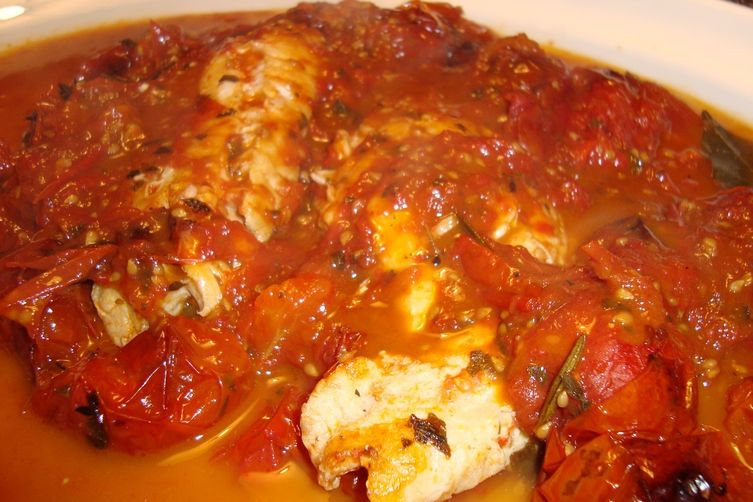 Fish Fillets (Cod, Haddock, Pollack—You Name It!) in Roasted Tomato Broth