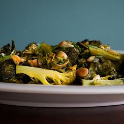 Roasted Broccoli with Almonds, Roasted Garlic and Mustard Vinaigrette