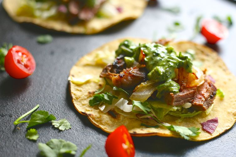 Grilled Steak Tacos with Herb Sauce