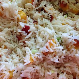 Rice Salad with Grilled Texas Peaches, Coconut and Pistachios