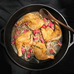 Chicken Legs & Thighs Braised in a Savory Blood Orange & Rhubarb Sauce