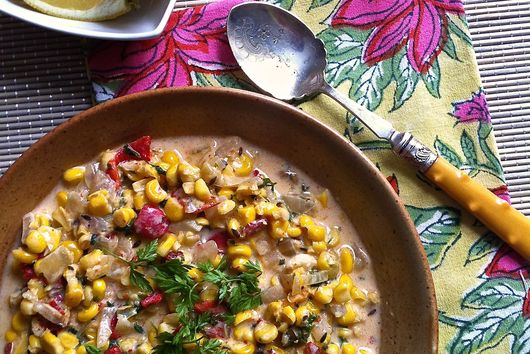 Smoky, Spicy Roasted Corn Soup