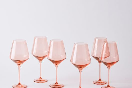 Hand-blown Colored Wine Glasses (Set of 6)
