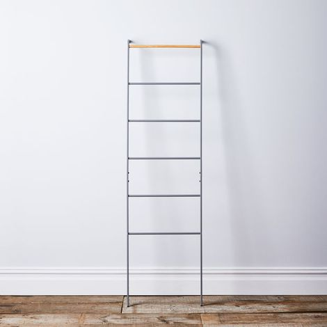 Grey Steel & Wood Leaning Ladder