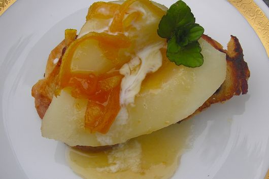 Braised Pears with Brandy Orange Sauce