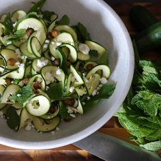 Raw Zucchini and Mint Salad with Spiced Chickpeas, Feta, and Argan Oil