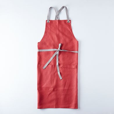 Crimson Cross-Back Kitchen Apron with Graphite Gray Ties
