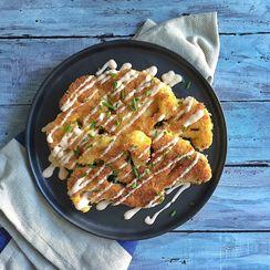 Panko Crusted Cauliflower Steaks with Greek Yogurt & Sriracha sauce