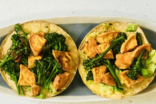 Roasted Sweet Potato and Broccolini Tostadas