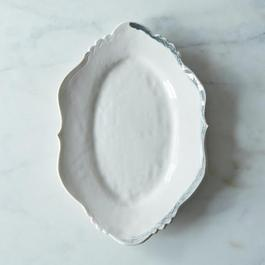 Brushstroke Regency Platter in White with Charcoal