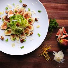 Fig Carpaccio with Lemon and Honey Frisee Salad