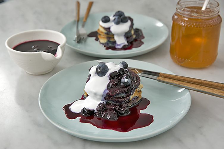 Coconut Flour Pancakes with Blueberry Syrup - Jo Whiten