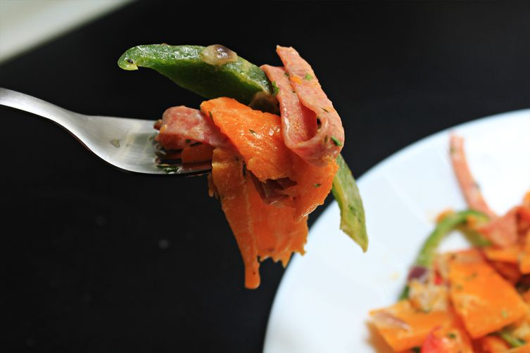 "Creamy pumpkin ""tagliatelle"" with mortadella and peppers"