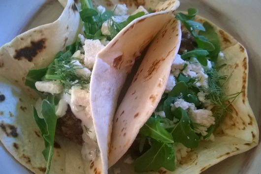 Mediterranean Meatball Tacos with Tzatziki, Feta and Arugula