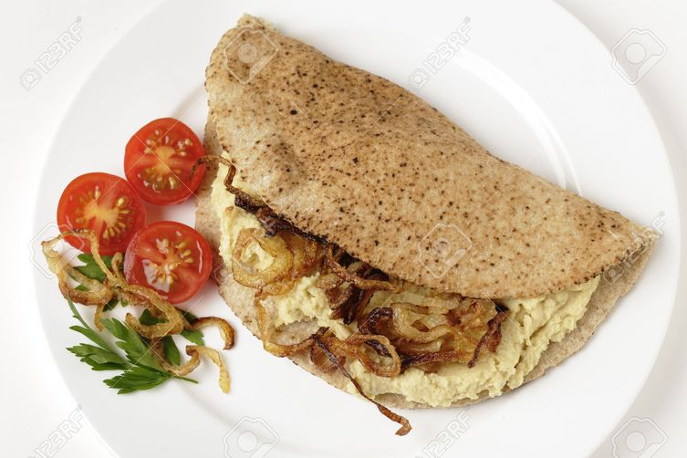 Pitta bread with Tofu Spread and caramelized onions