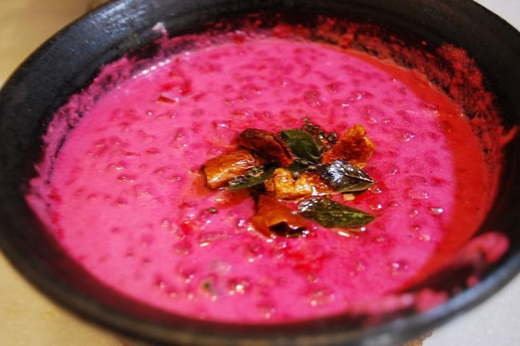 PACHADI ( Sauteed beetroot in warm and spicy yogurt gravy)