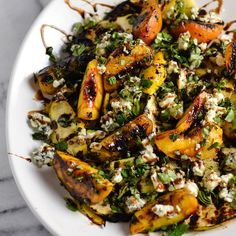 Grilled Summer Squash, Peaches, Blue Cheese Salad with Herbs