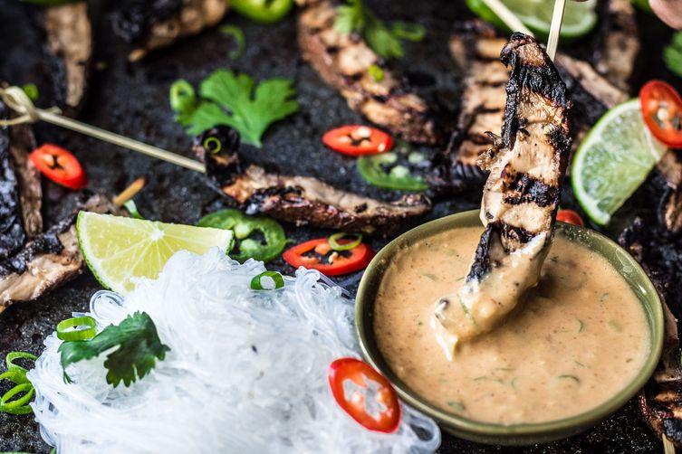 Vegan Mushroom Satay Skewers
