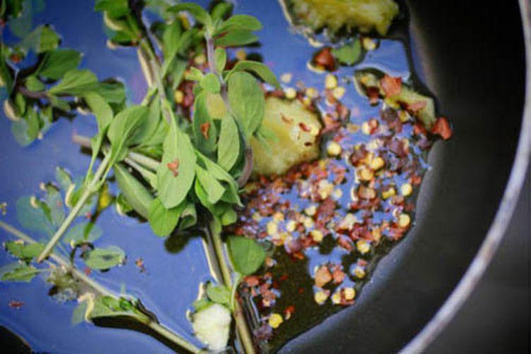 Orecchiette with Marinated Eggplant, Burrata and Chilies