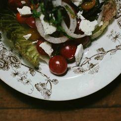 Greens & Ripe Tomato Salad With Ricotta Salata & Balsamic Vinaigrette