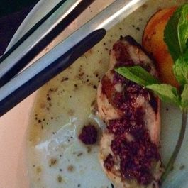 Fennel crusted grilled swordfish with black olive tapenade