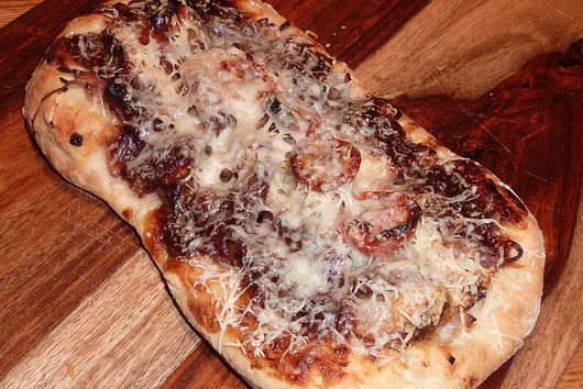 BBQ Pork Pizza with Caramelized Onions and Roasted Tomatoes
