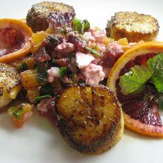 Seared Scallops with Blood Orange, Mint and Feta Salsa