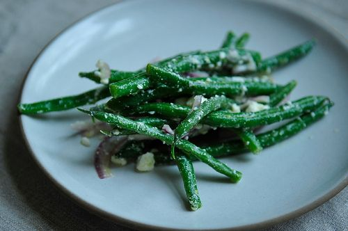 Lemony Green Bean Salad with Feta, Red Onion, and Marjoram