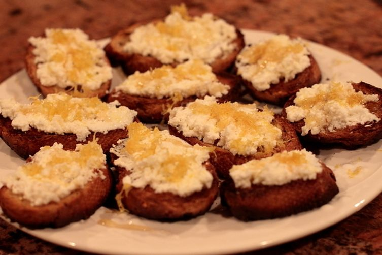 Crostini with Ricotta, Honey and Lemon Zest Recipe on Food52