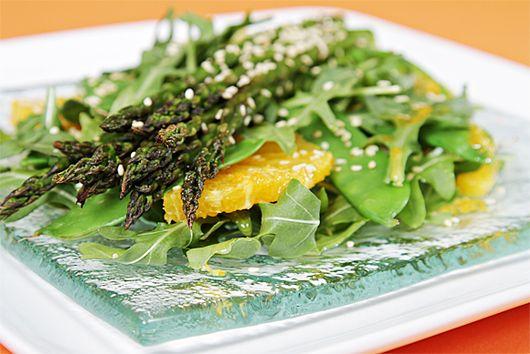 Roasted asparagus salad with Valencia oranges and ginger-citrus vinaigrette