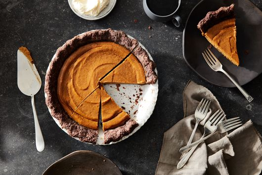 Pumpkin & Tahini Pie with Chocolate Pie Crust