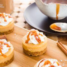 Mini Salted Caramel Pumpkin Cheesecakes
