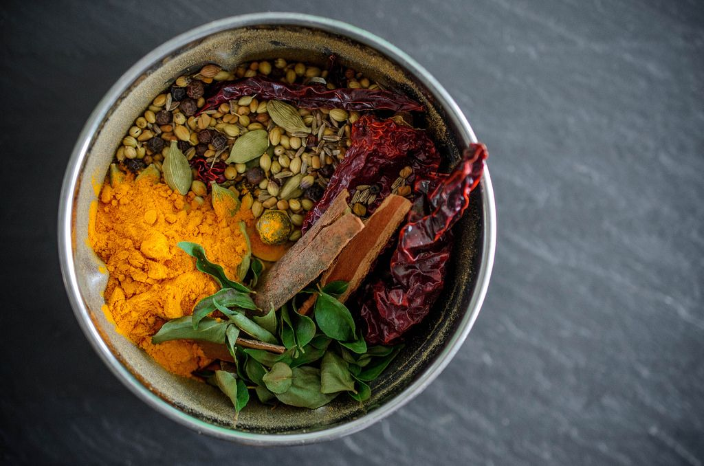 Place The Toasted Spices Curry Leaves And Ground Turmeric In A Spice Grinder Or A Powerful Blender And Grind To A Fine Powder