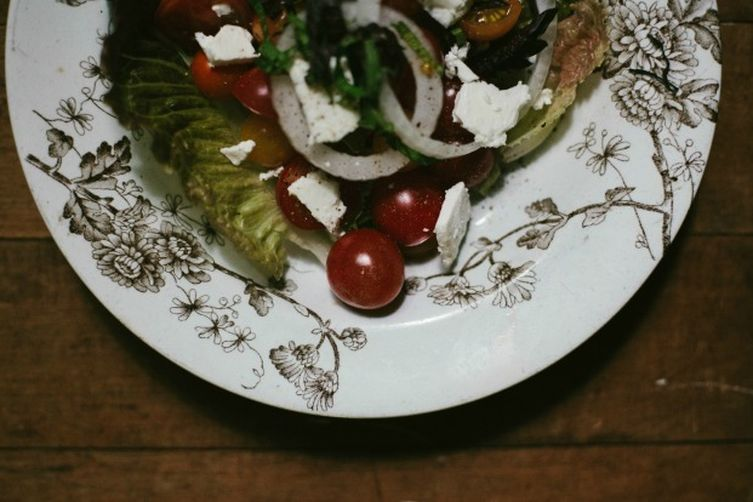 Greens and Ripe Tomato Salad with Ricotta Salata and Balsamic Vinaigrette