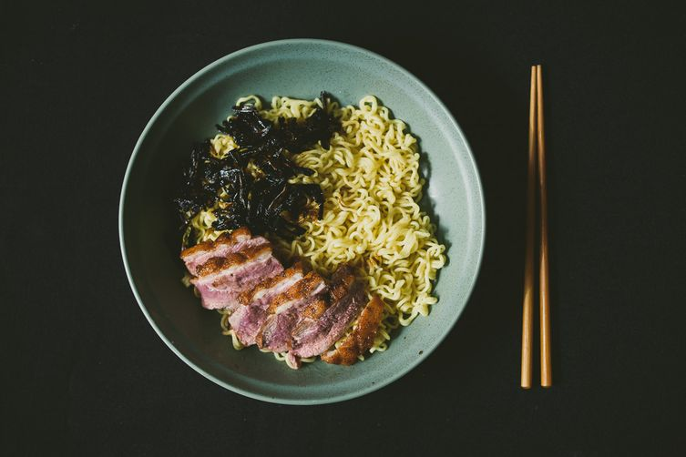 Duck-fat Scallion Oil Noodles with Duck Breast