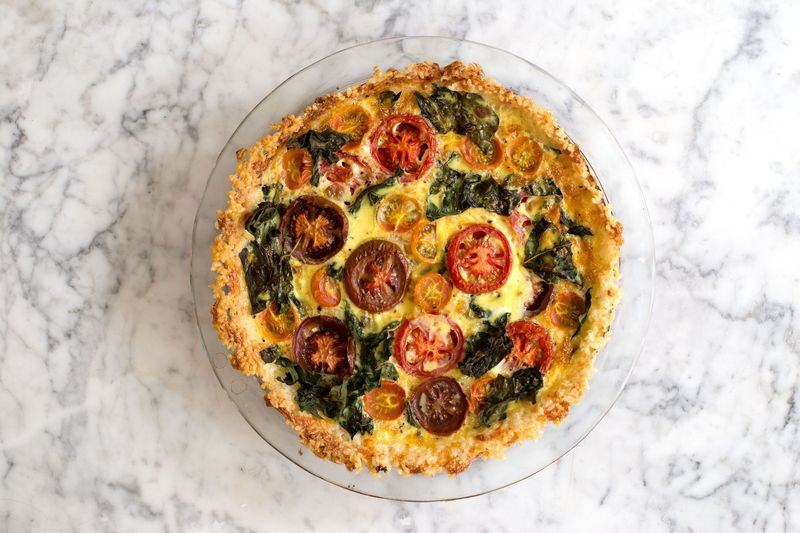 Tomato-Kale Quiche in Cheesy Rice Crust