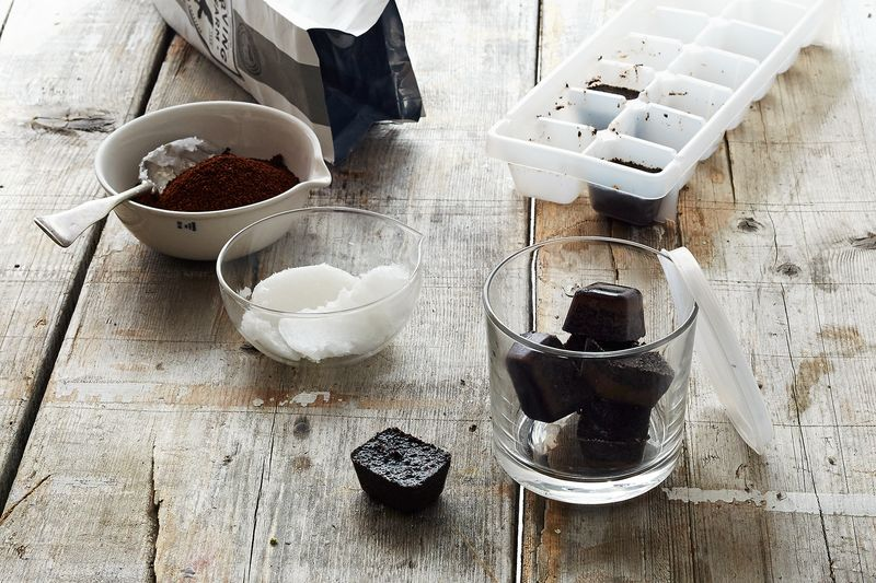 Coffee grounds + coconut oil = body scrubbers that will wake you right up.