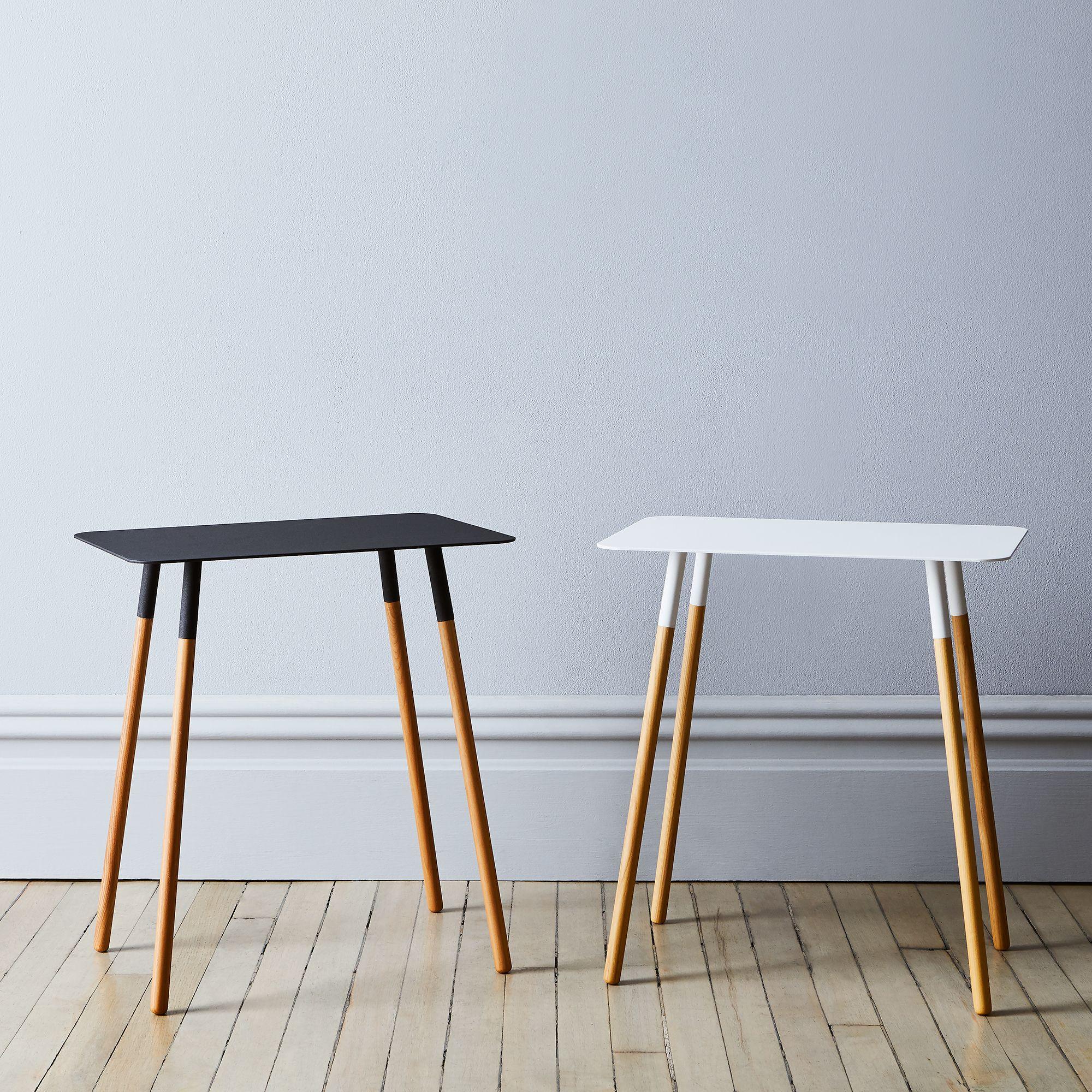 steel wood rectangular side table on food52