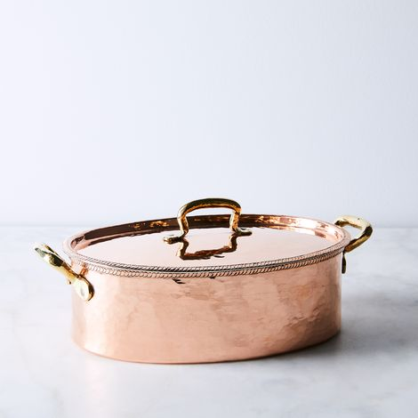 Vintage Copper French Oval Casserole Dish, Late 19th Century