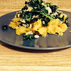 Roasted Spaghetti Squash with Kale and Salmon